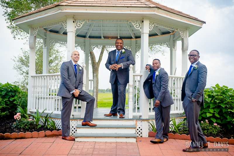 Casual groomsmen at the gazebo at House Plantation