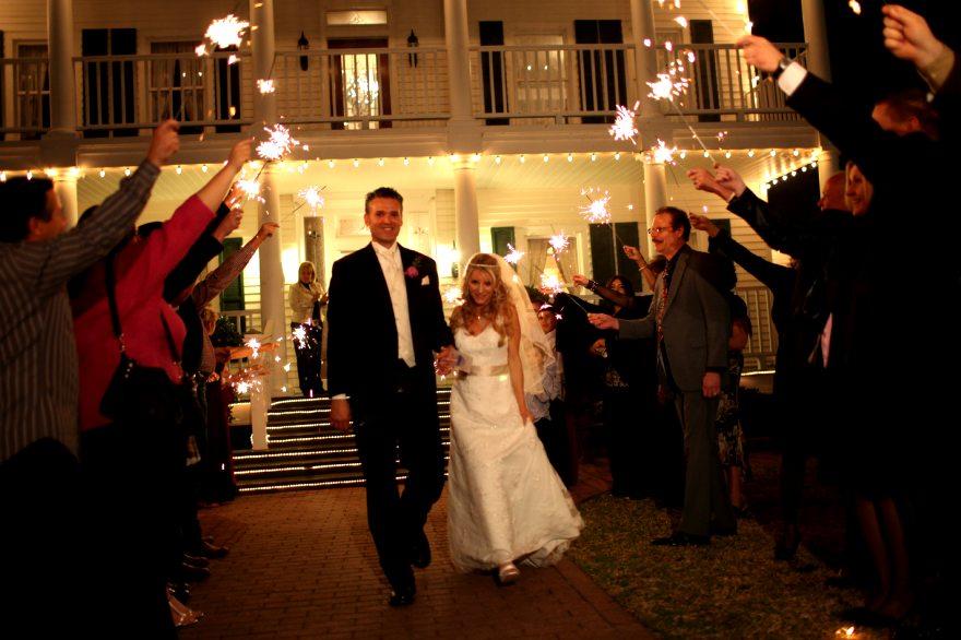 sparklers and House Plantation - wedding venue photos