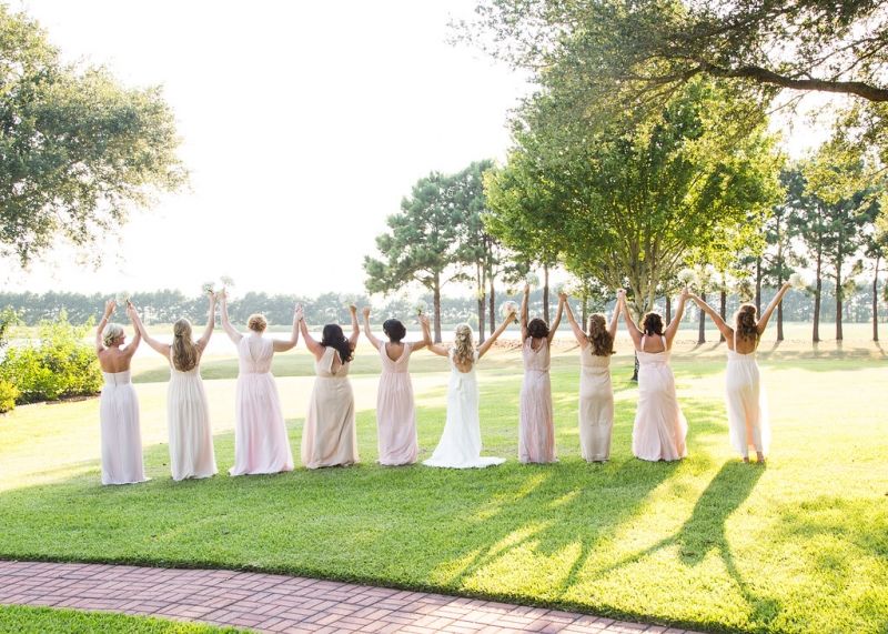 bridal party pics in sept at a Houston wedding facility