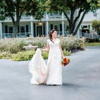 Bride in front of the house