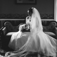 Bridal photo ops in one of the Victorian mansion rooms