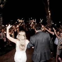 Sparklers and a lit exit