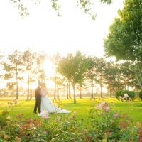 Kissing on the beautiful grounds