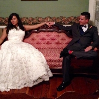 bride and groom in the grooms room