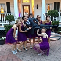 fun with bridal party at Houston wedding