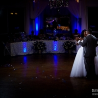 indoor wedding facilities in Houston with blue lighting