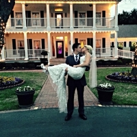 march wedding in front of House Estate