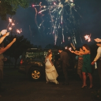 fireworks when exiting House Plantation - wedding venue photos