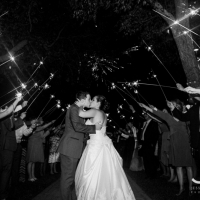 Beautiful exit with sparklers at a Houston wedding venue