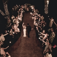 Beautiful sparkler exit from above at a Houston wedding venue