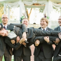 Groom and grooms men in Sept having some fun at a Houston venue