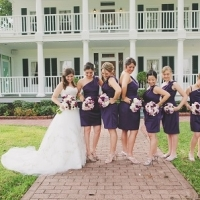 bride and party at front of house plantation