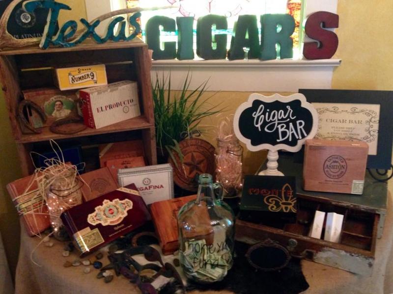 indoor wedding cigar bar