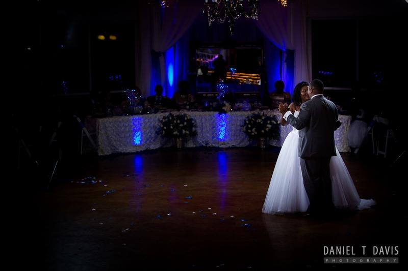 indoor wedding facilities in Houston with blue lighting