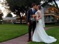 wedding kiss at dusk