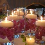 rose petals in glass