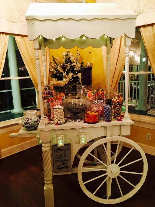 candy counter pink wedding decor