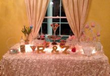 candy counter pink wedding decor