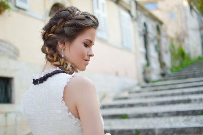 simple bridal weddings hair braids and buns